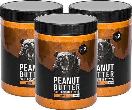 nu3 Crema de cacahuete - 3 kg - Peanut Butter pura y natural - Mantequilla de maní sin sal ni azúcar - Libre de aceite de palma y conservantes ...