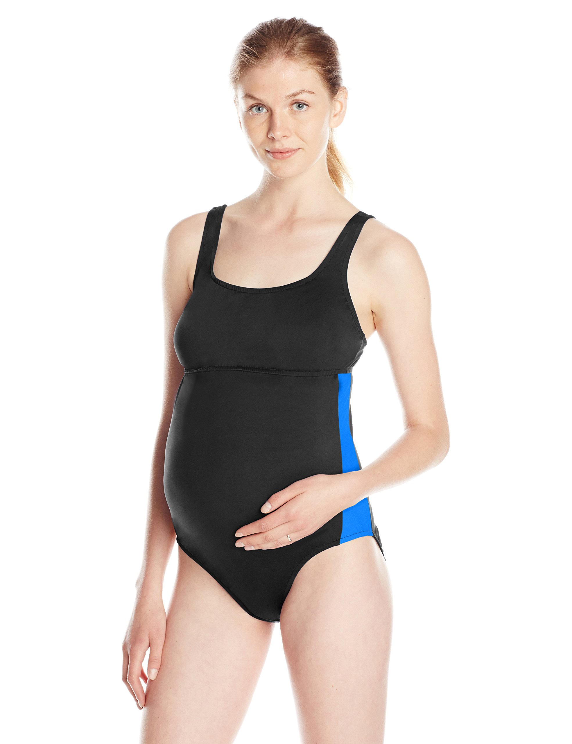 Prego Maternity Women's Maternity Sport One Piece Swimsuit, Black/Royal, X-Small by Prego