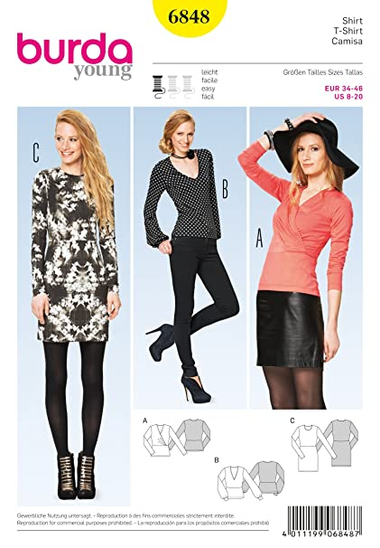 Amazon.com: Burda Young Sewing Pattern 6848 - Misses\' Shirt, Close ...