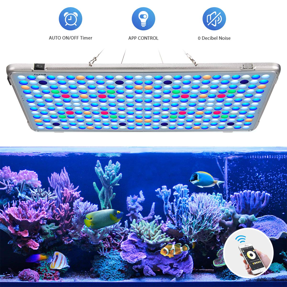 Bozily Aquarium Light 300W, APP Control LED Coral Light with Automatic on/Off Timer and Dimming Function, Full Spectrum Reef Lighting Light for Coral Reef Grow Fish Tank