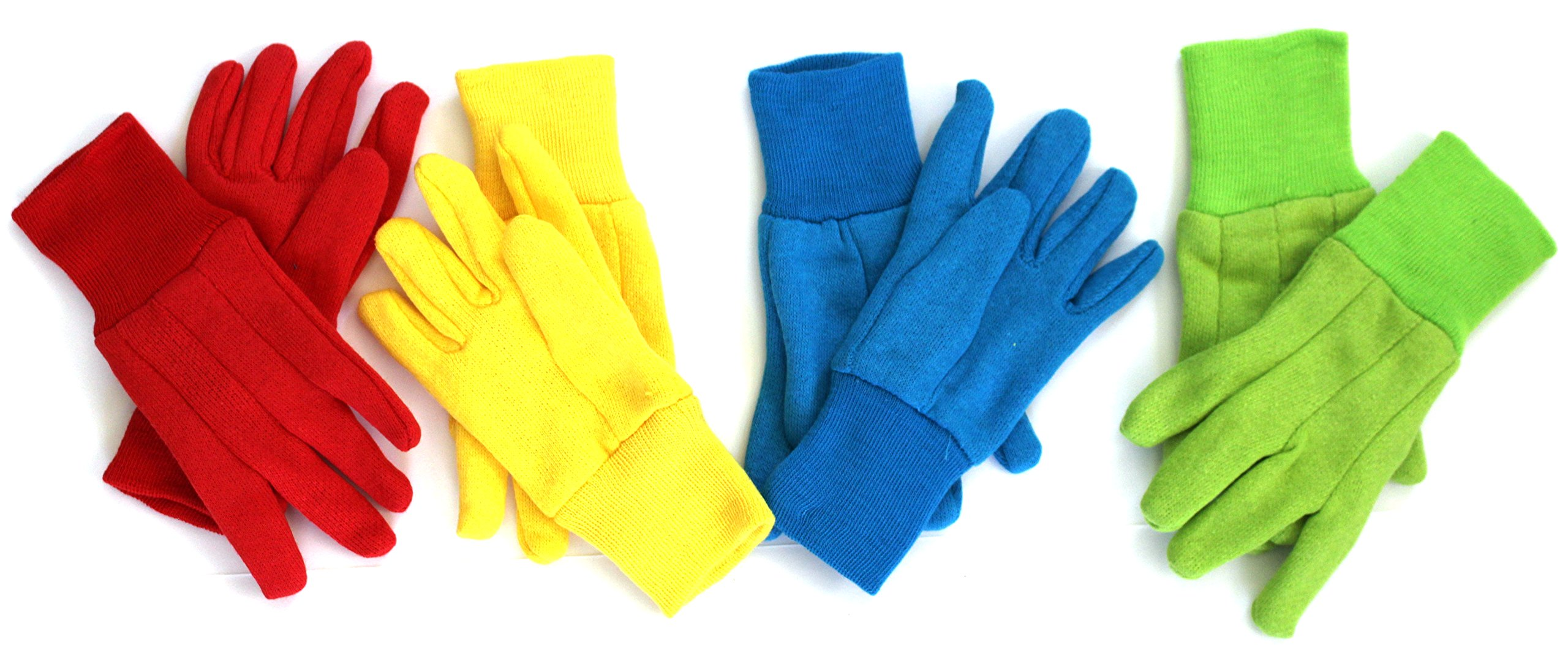 KIDS COTTON GARDENING GLOVES, (4-Pack) - Ages 3+ - FUN 'BRIGHT' COLORS - Pack will include all 4 Colors. a Different Color Everyday!