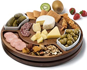 Shanik Upgraded Lazy Susan Cheese Cutting Board Set, Round Acacia Charcuterie Board, Cheese Serving Platter with 2 Ceramic Bowls and Crafted Snacks Spaces, The Perfect Gift for Any Occasion