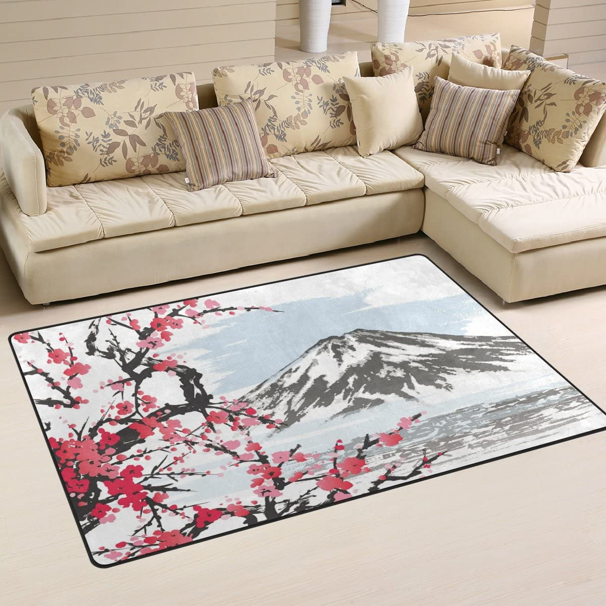 WOZO Mountain Fuji Spring Oriental Cherry Blossoms Area Rug Rugs Non-Slip Floor Mat Doormats Living Dining Room Bedroom Dorm 60 x 39 inches inches Home Decor