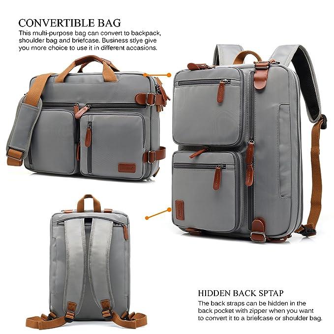 505323934ad6 CoolBELL Convertible Backpack Messenger Bag Shoulder Bag Laptop Case Handbag  Business Briefcase Multi-Functional Travel Rucksack Fits 17.3 Inch Laptop  for ...