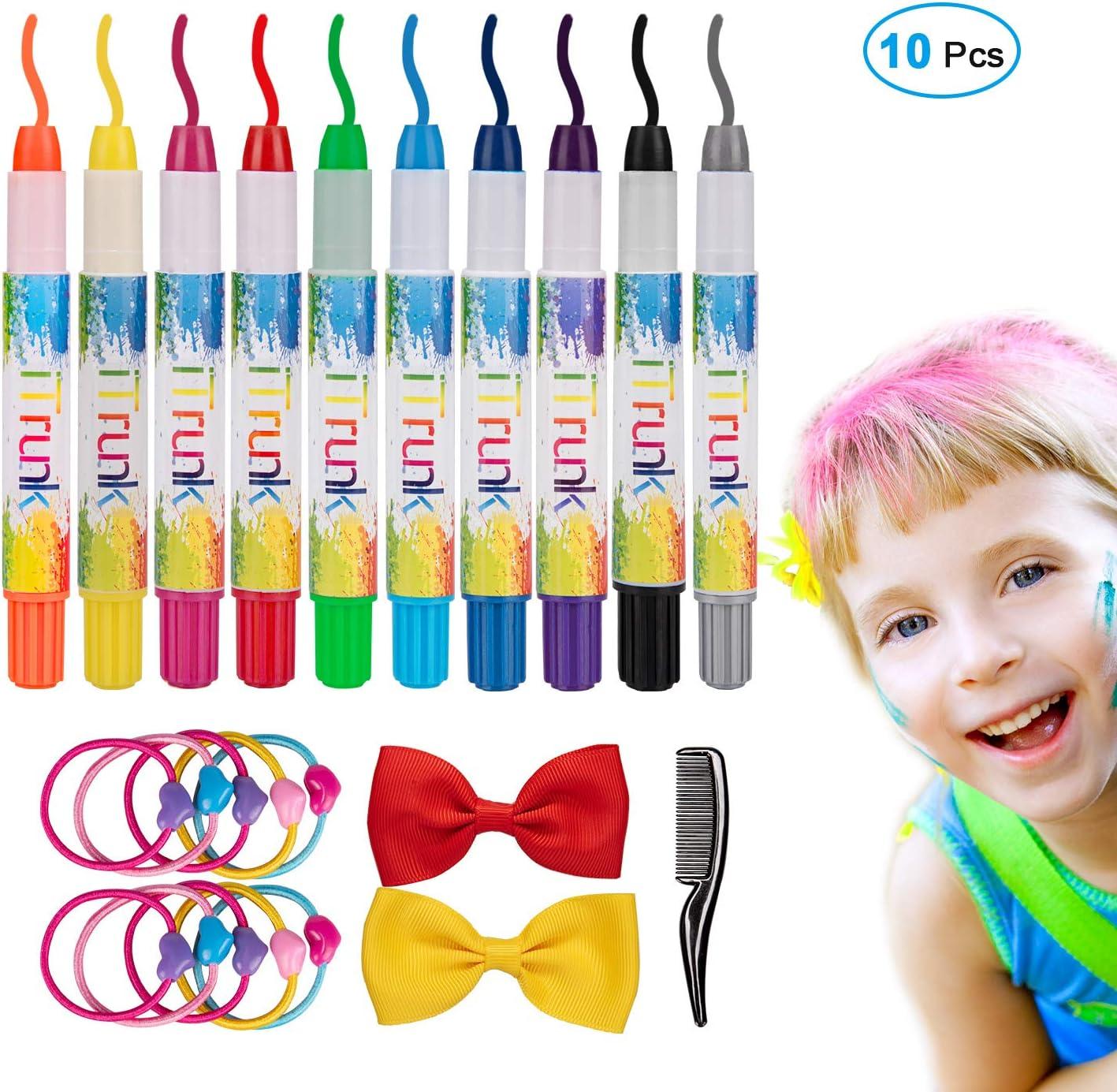 Tiza para el cabello, 10 Plumas de tiza para el cabello no tóxicas coloridas y kit de pintura para la cara, color de cabello temporal Regalos de cumpleaños perfectos para niñas con tiza 4 a 11 años