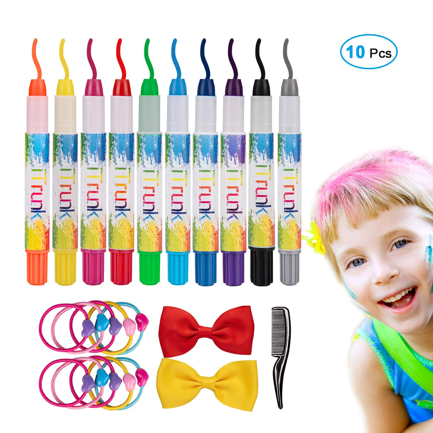 Hair Chalk, iTrunk 10 Colorful Non-Toxic Hair Chalk Pens and Face Paint Kit, Temporary Hair Color Chalk-Perfect Birthday Present Gifts for Girls Age 4-11 Years Old Fencos GE00100-FE-INFBA