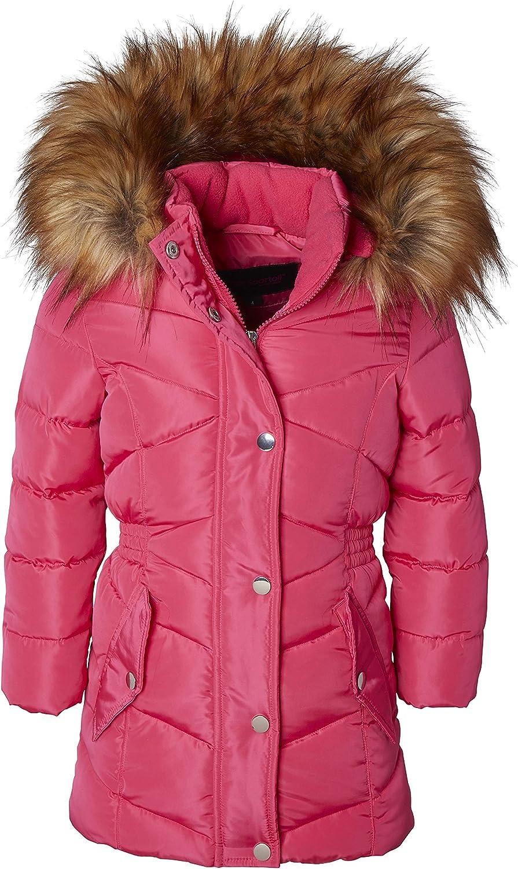 Girls/' Midlength Quilted Fleece Lined Winter Puffer Jacket Coat Zip-Off Fur Hood