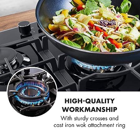 Klarstein Ignito 5 zonas Placa de cocina • 5 fogones • Autárquico • 75 cm • Para montar • Quemador Sabaf • Gas natural/propano • Válvula de seguridad ...