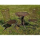 """Exklusive Sitzgruppe """"Eliza"""", Gartentisch mit 2 Stühlen, Gartengarnitur, sehr stabile Metallausführung, klappbar"""
