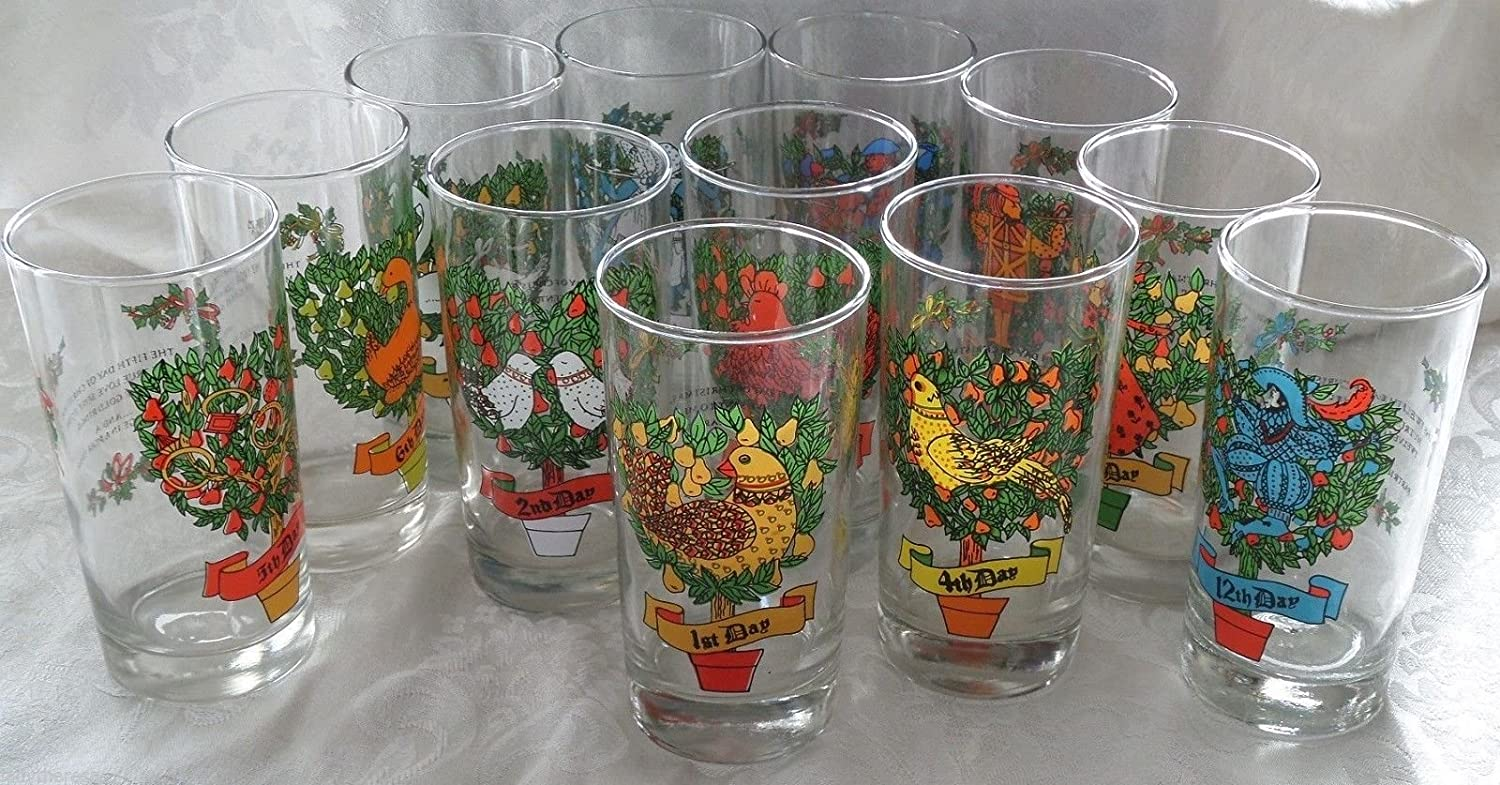 Amazon Com Vintage Indiana Glass Twelve Days Of Christmas Complete 12 Glass Set Other Products Everything Else