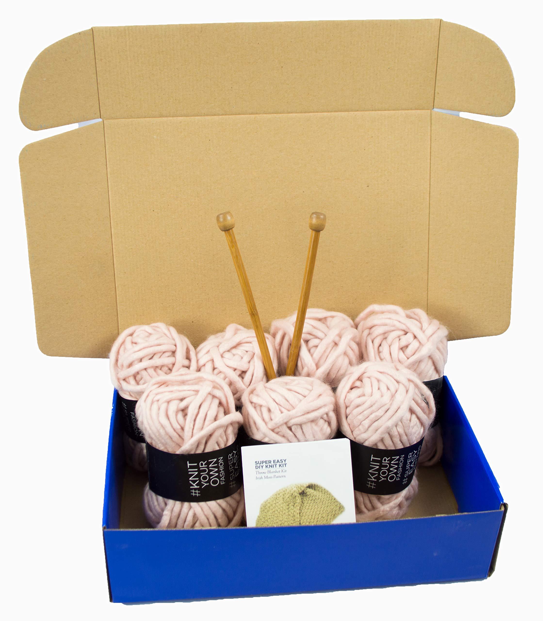 Chunky Knit DIY Throw Blanket Knitting Kit, Super Soft Yarn, US15 10mm Wood Needles (Dusty Pink)