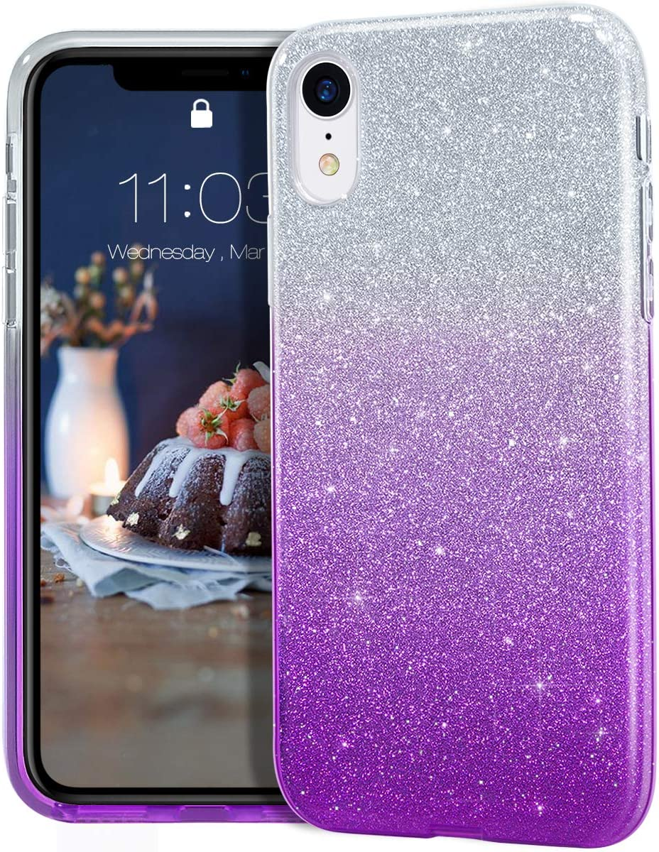 MATEPROX iPhone XR Case Glitter Slim Shiny Sparkle Crystal Bling Cover Cute Girls Case for iPhone XR 6.1'' (Gradient Purple)
