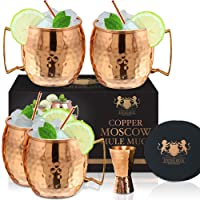 Moscow Mule Mugs - Set of 4-100% HANDCRAFTED - Food Safe Pure Solid Copper Mugs...