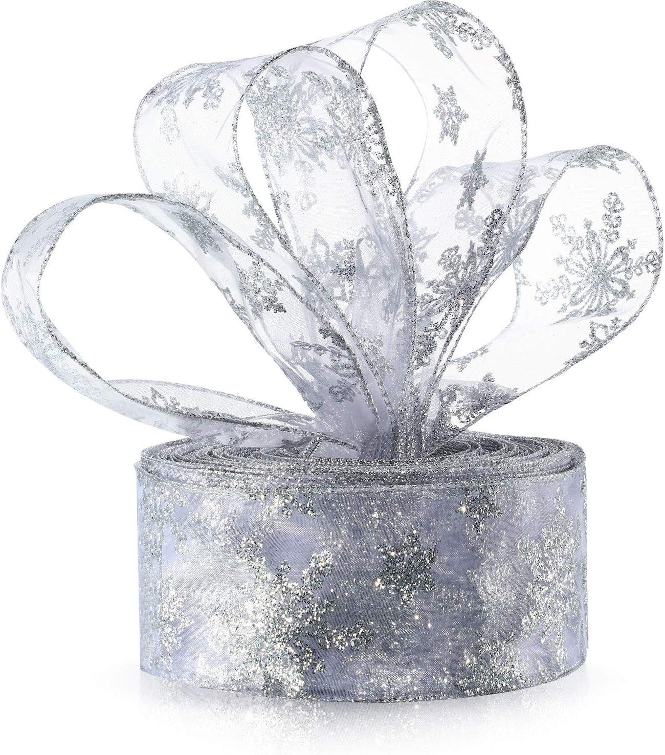 10M Christmas Snowflake Organza Stain Ribbon Party Gift Wrapping Wedding Decor