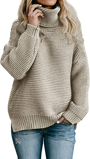 Imily Bela Womens Oversized Turtleneck Sweater Long Sleeve Chunky Pullovers Knitted Outfit