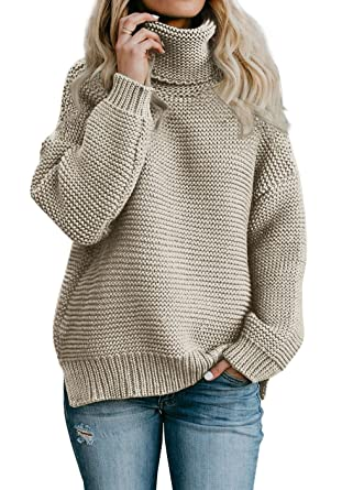 cdd3ee12d40 Imily Bela Womens Oversized Turtleneck Sweater Long Sleeve Chunky Pullovers  Knitted Outfit (Small, Khaki