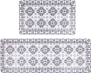 "Pauwer Anti Fatigue Kitchen Rug Sets 2 Piece Non Slip Kitchen Floor Mats Cushioned Comfort Standing Mat Waterproof Kitchen Runner Rug Set 17""x47""+17""x28"""