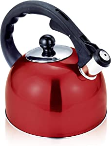 Stainless Steel Stovetop Whistling Tea Kettle 3 Liter (3-Quart) Classic Teapot with Ergonomic Handle, Works on Induction Cooktops-Red 2408