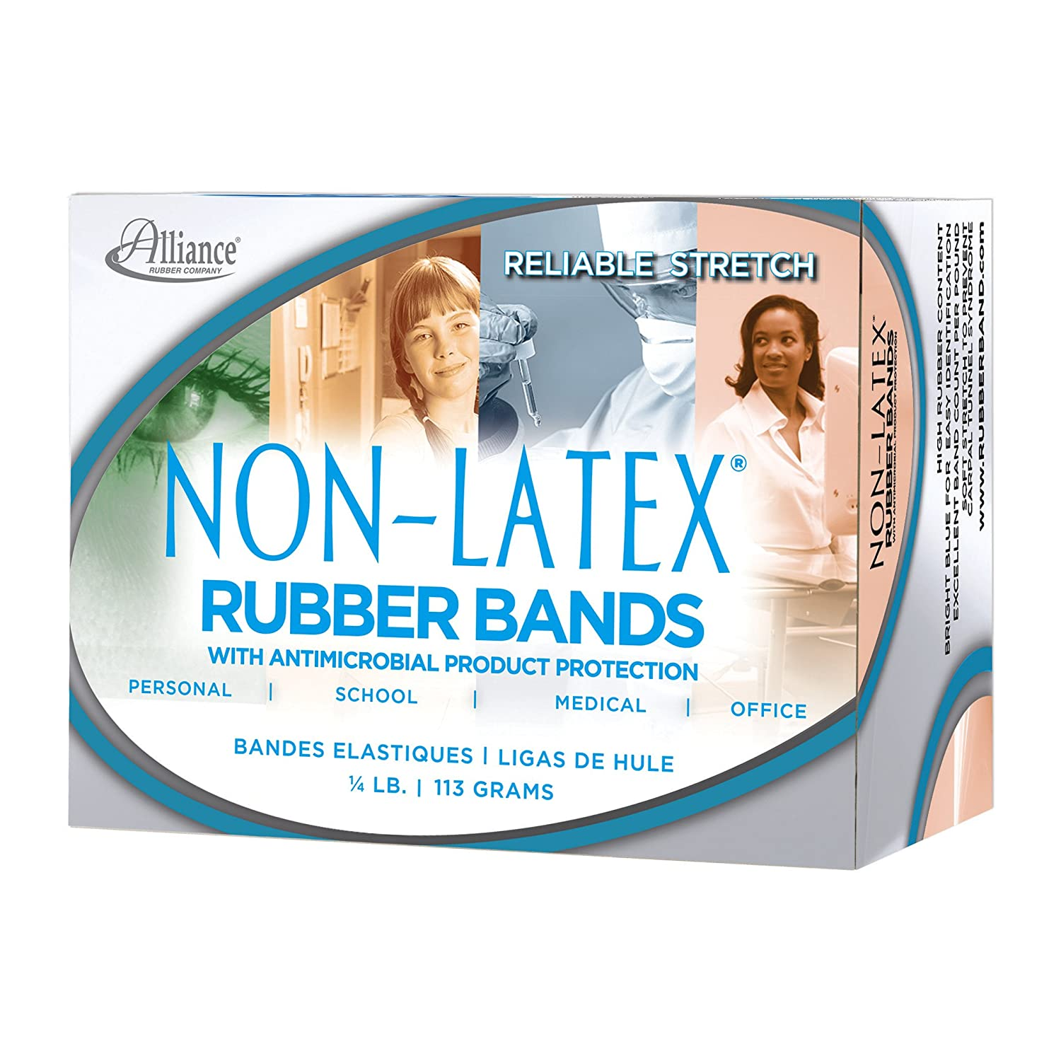 25 Blue Latex Free Antimicrobial Rubber Bands 3 1//2 X 1//4 Size #64