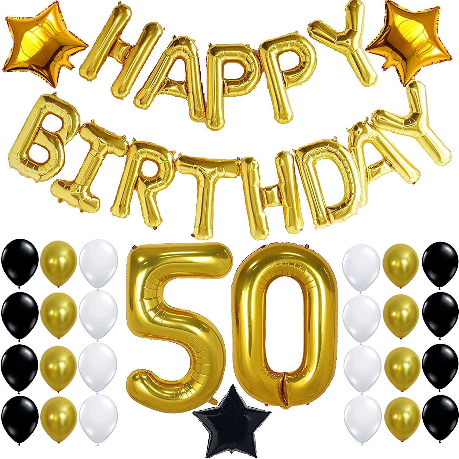 Black White And Gold 50Th Birthday Party Decorations from images-na.ssl-images-amazon.com