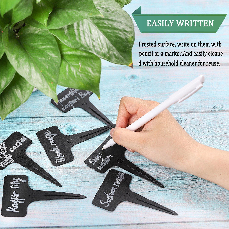 Whaline 100 Pcs Plastic Plant Waterproof Tags T-type Garden Labels Accessories 6 x10 cm Black