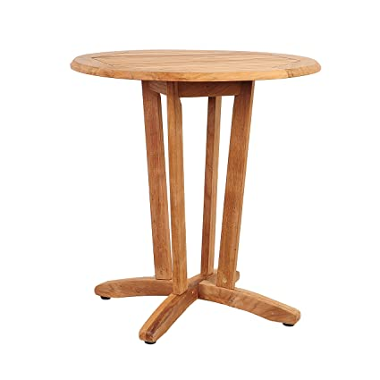 Amazoncom Amazonia Teak Victor Bistro Teak Round Table Garden - Teak pub table and chairs