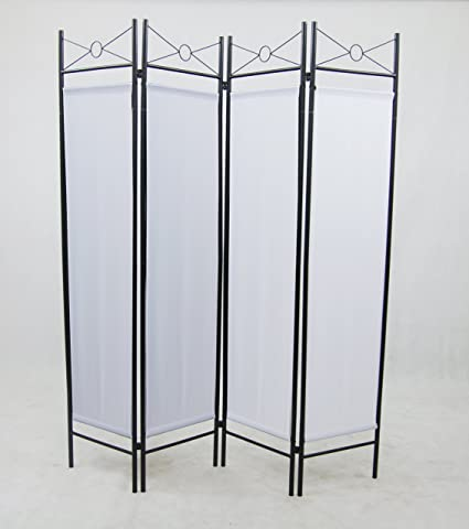 Amazoncom 4 Panel White Color Metal and Woven Fabric Room Divider