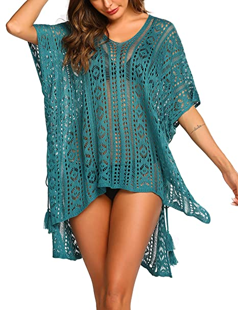 68af61a0e8d0 Ekouaer Womens Swimsuit Cover Up V Neck Crochet Short Sleeve Beach Swimwear  Sexy Bikini Coverup Dress