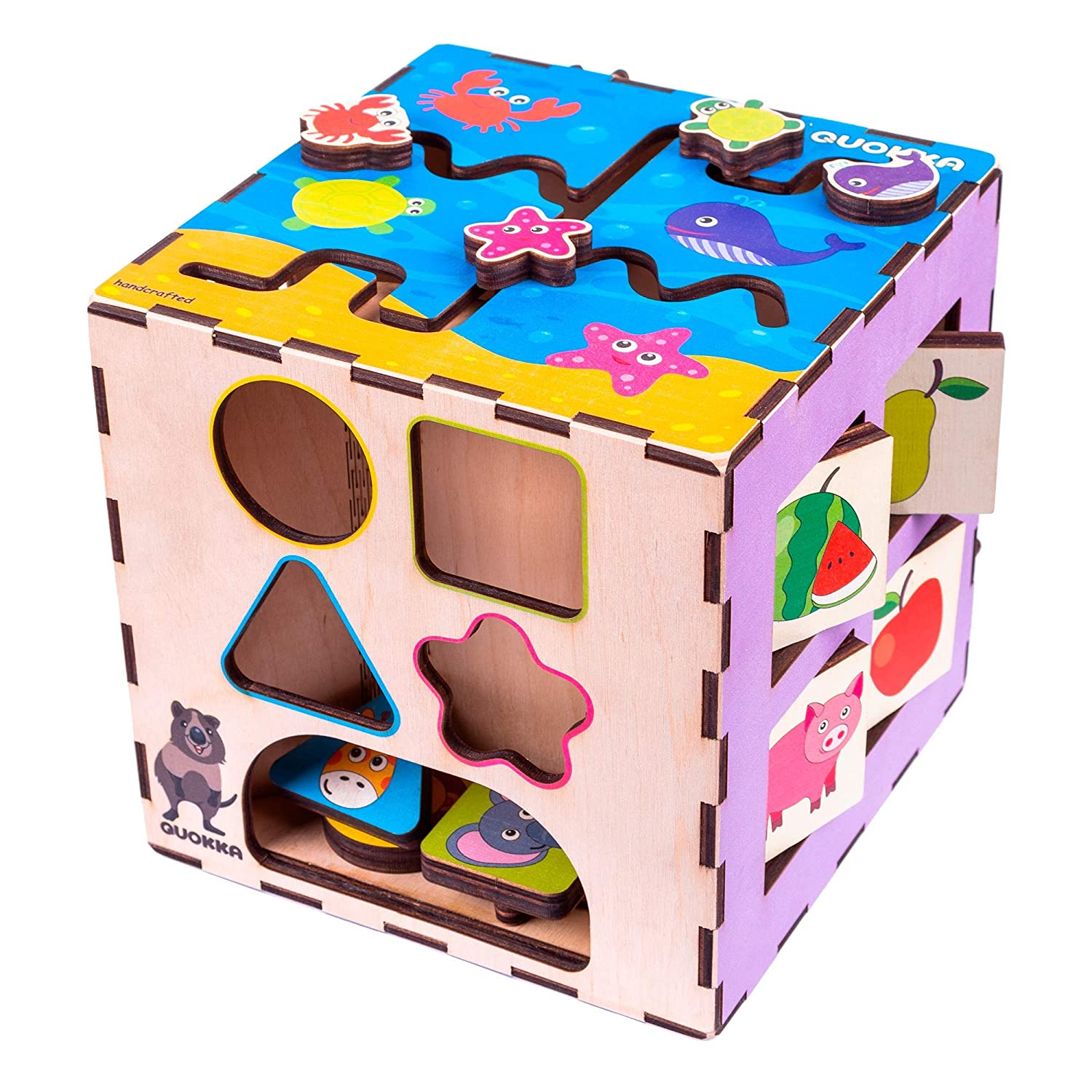 Quokka Busy Learners Activity Cube Top Wooden Busy Cube For Baby Activity Cube For 2 Years Old Developmental Toy Sturdy Wooden Learning Toy 4