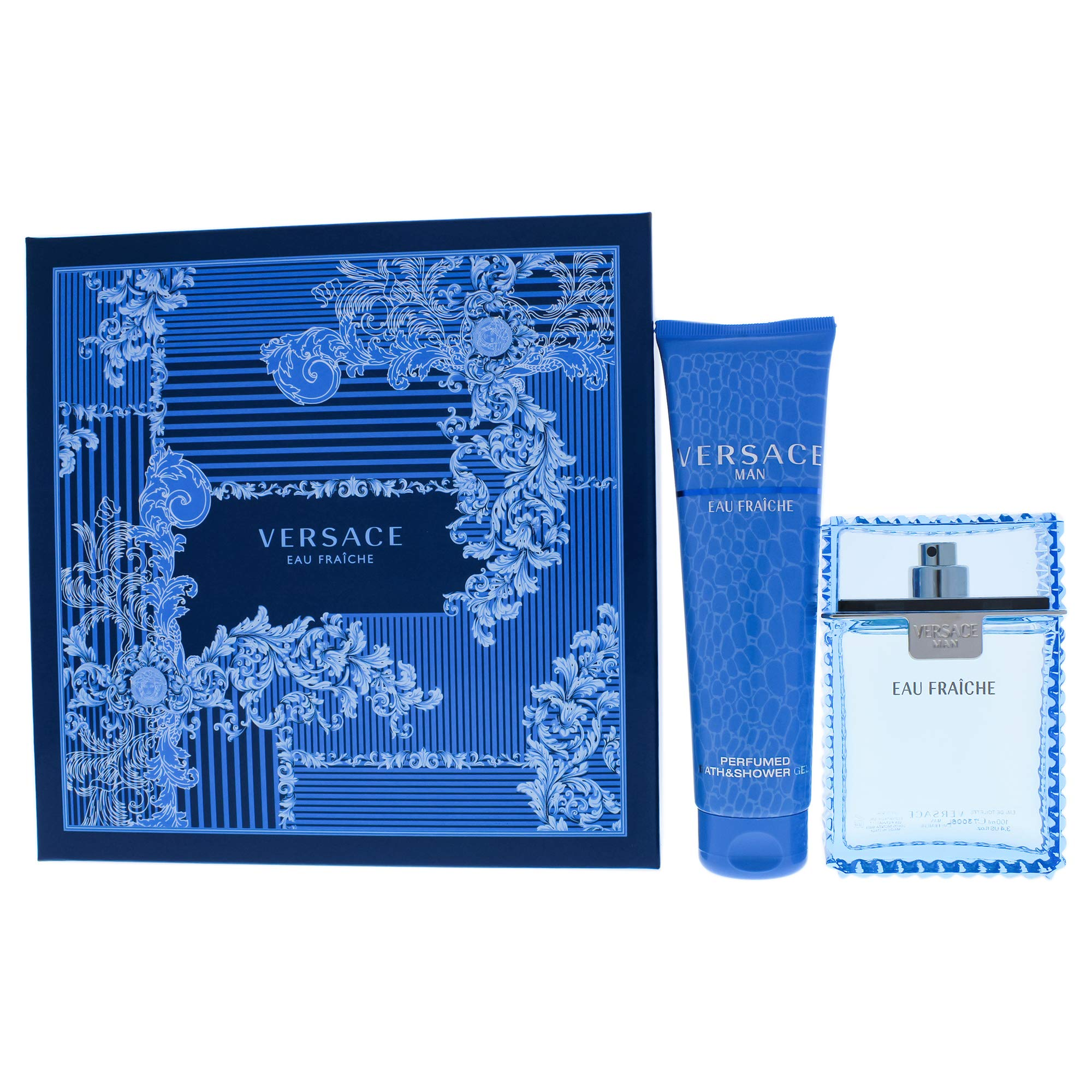 Versace Man Eau Fraiche by Versace for Men - 2 Pc Gift Set 3.4oz EDT Spray, 5oz Perfumed Bath and Shower Gel