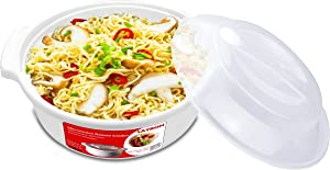 Microwave Ramen Cooker Noodle or Soup Bowl Easy Mac Perfect for Breakfast, College Dorm Essentials for Boys Girls,Office, Dishwasher-Safe, BPA-Free, 51OZ/1.52L