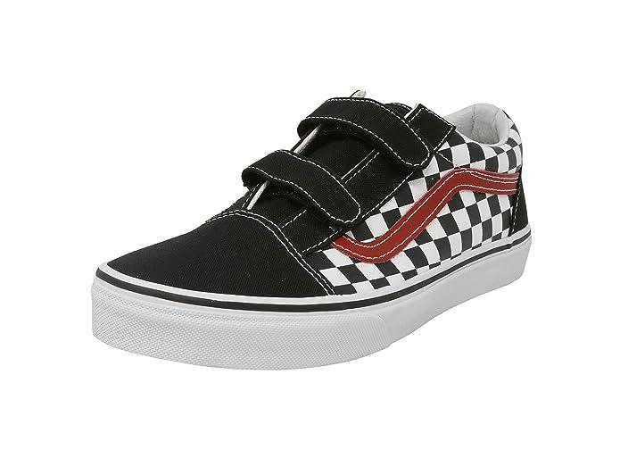 Vans Unisex Old Skool Sneakers Klettverschluss Schwarz/Weiß Kariert/Rot