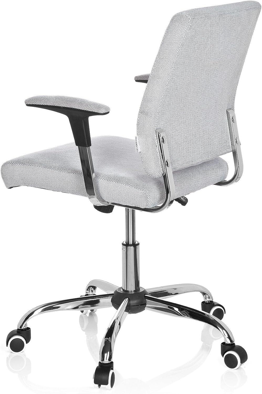 hjh OFFICE 719100 chaise de bureau classique, siège pivotant CHARLES gris en tissu avec accoudoirs, piètement en acier chromé, vintage, des années 70,