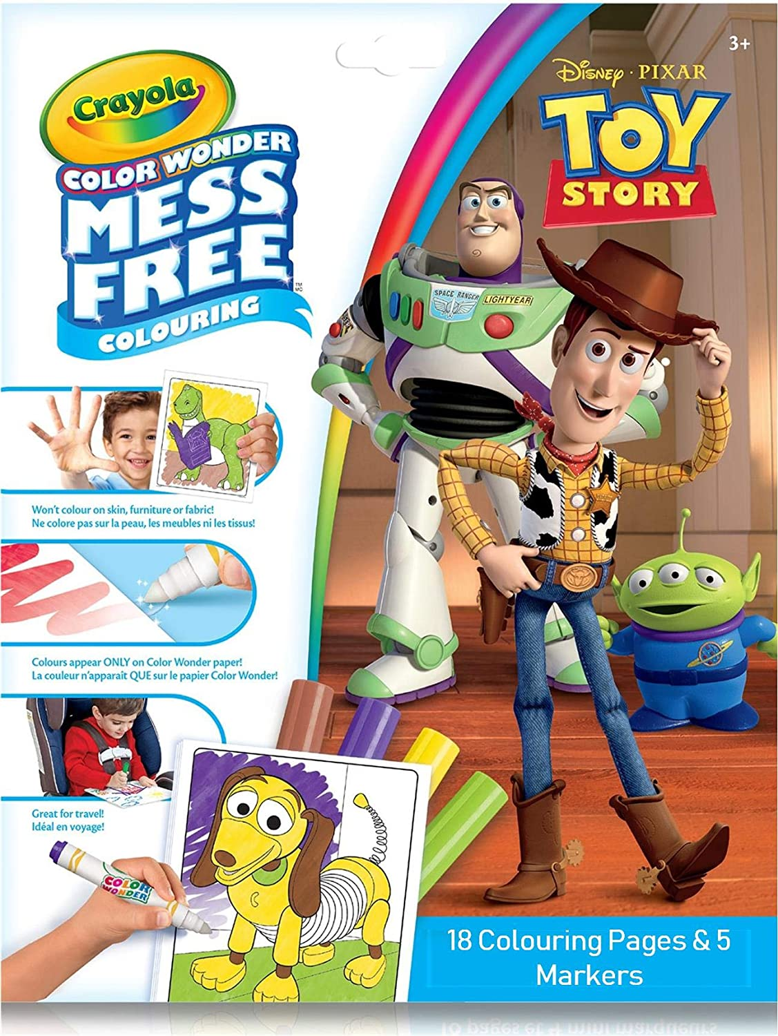 18 Pages Mess Free Coloring Gift Crayola Toy Story Color Wonder Coloring Book /& Markers