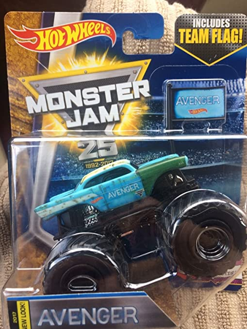 Amazon Com Hot Wheels Monster Jam New Look 2017 Avenger Blue With Black Wheels Includes Team Flag 6 10 Tour Favorites Rare 57 Chevy Everything Else