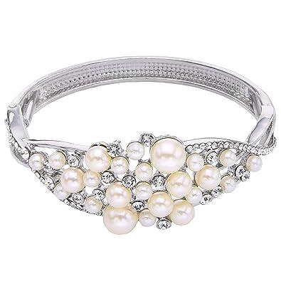 TENYE Austrian Crystal Cream Simulated Pearls Bridal Stretch Bracelet Clear hjrVgfNEn