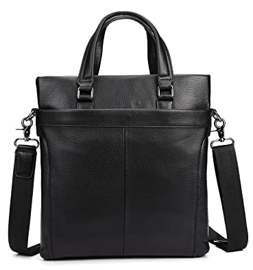 bd6fbf005fdc Men s Genuine Leather Tote Bag A4 Black Cow Leather Business Handbag  Messenger Bag (Black1)