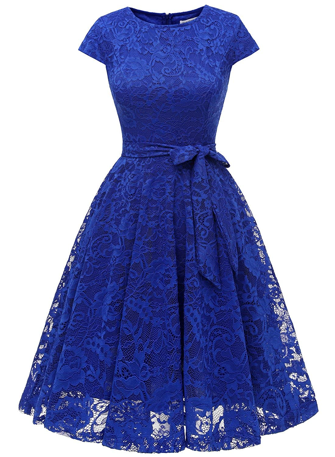MUADRESS Women Short Bridesmaid Dresses with Cap-Sleeve Chic Lace Formal Dresses