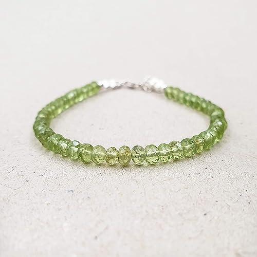 Genuine Peridot Bracelet 925 Silver  Chain Handmade Beaded Gemstones Jewelry Delicate Dainty Bracelet Green Bracelet October Birthstone
