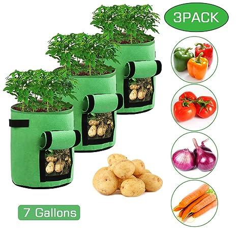 Ballery Bolsas de Cultivo de Papa, Bolsa de Cultivo de Plantas, 7 Galones Maceta de Cultivo de Patatas para en Jardin para Papa, Zanahoria, Tomate y ...