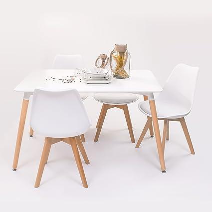Conjunto de mesa de cocina TOWER 120 + 4 sillas DAY insp-Eames ...