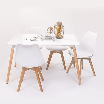 Conjunto de Mesa de Cocina Tower 120 + 4 sillas Day diseño nórdico ...