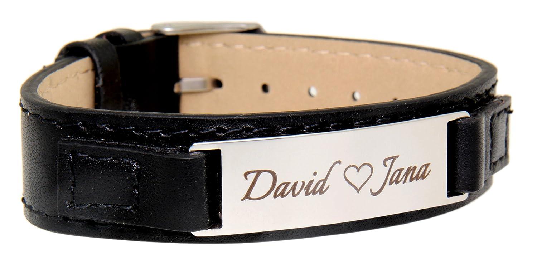 Lederarmband mit gravurplatte  Schmales Leder-Armband mit Gravurplatte aus Edelstahl, glänzend ...