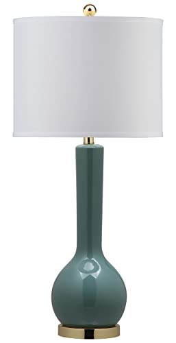 Safavieh Lighting Collection Mae Marine Blue Long Neck Ceramic 30.5-inch Table Lamp