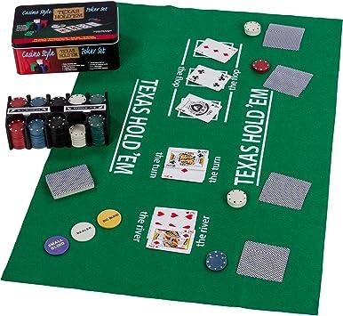 Set de póker / Blackjack en Caja de Metal, 200 fichas de póker, 2 ...