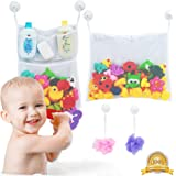 2 x Mesh Bath Toy Organizer + 6 Ultra Strong Hooks – The Perfect Bathtub Toy Holder & Bathroom or Shower Caddy – These Multi-