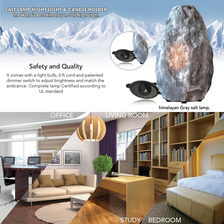 Himalayan Glow Gray Naked Salt lamp 3-5 lbs Best as Night Light