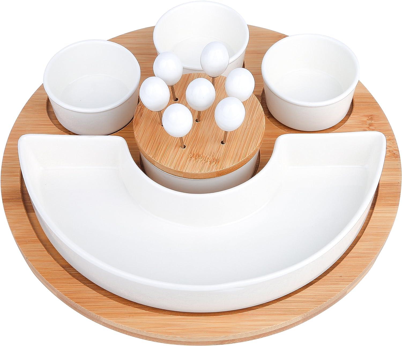 Vancasso 4 Servierschalen aus Porzellan mit einem Tablett aus Bambus 5-teiilig Set Dessert Snack Dips Sch/älchen