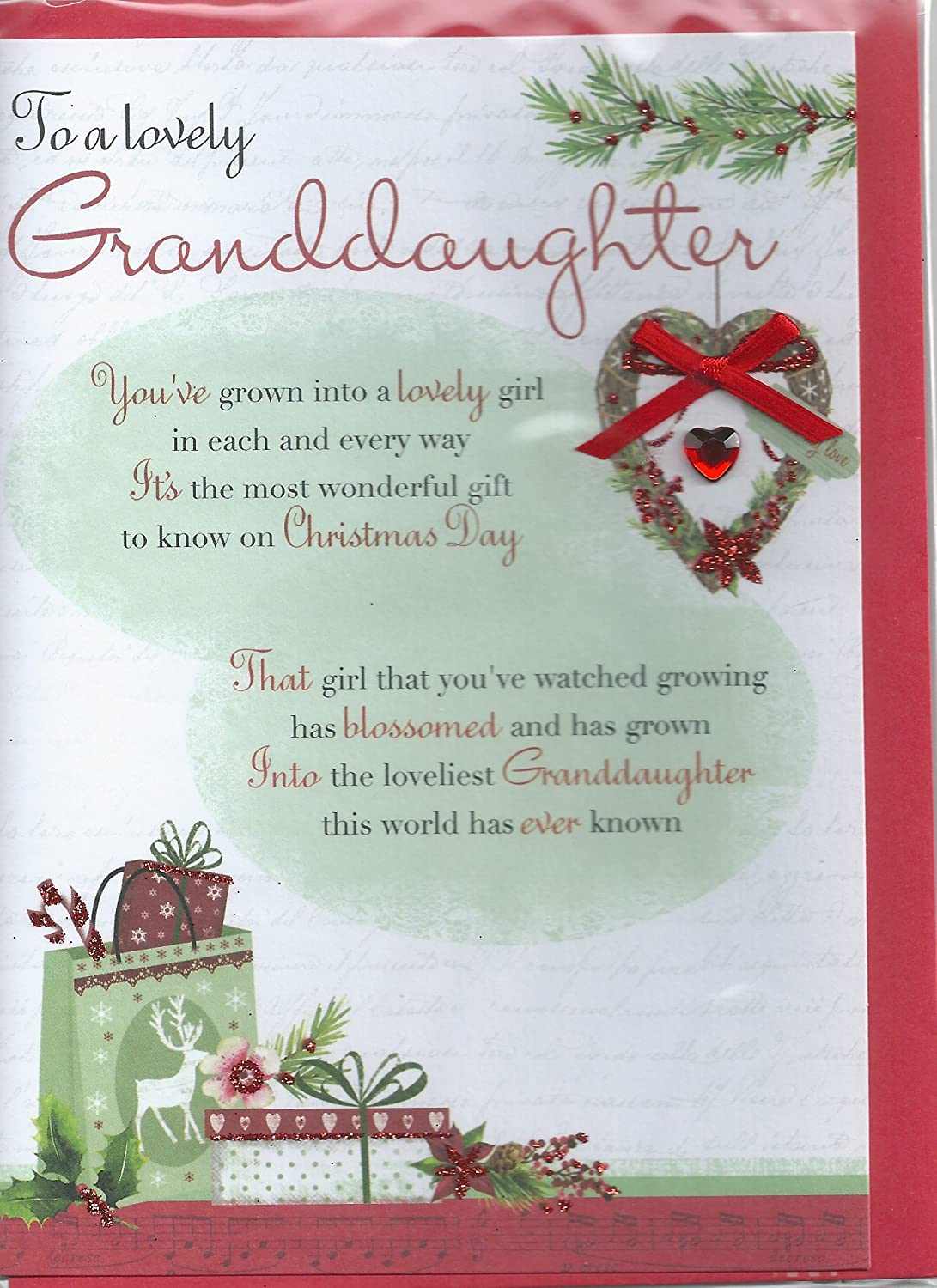 To a lovely granddaughter christmas greeting card traditional cards to a lovely granddaughter christmas greeting card traditional cards lovely verse amazon kitchen home m4hsunfo