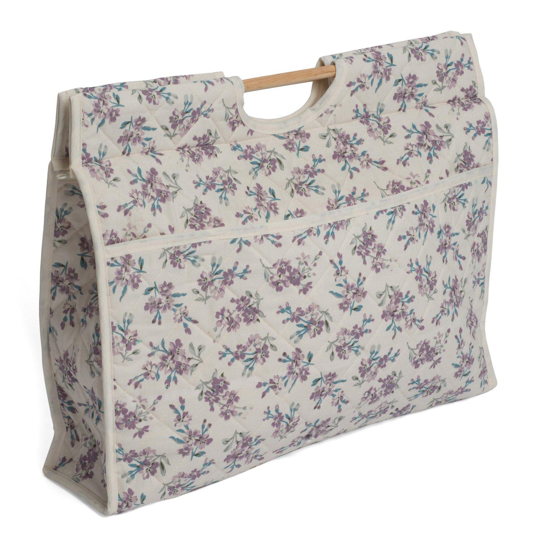 Hobby Gift HGCB/217 Chambray Rose Cream Print Craft/Knit Storage Bag 11x43x33½cm Groves